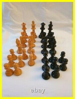 Weighted Boxed Wooden Chess Set, King Just Under 4 Inch, Good Condition