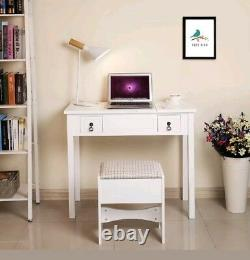 White Vanity Set with Flip Top Mirror and Padded Stool Brand New in Box