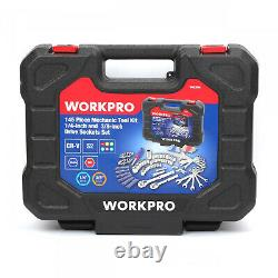 Workpro 145 Piece Mechanic Tool Kit 1/4-inch and 3/8-inch Drive Sockets Set NEW