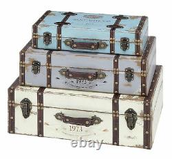 Zimlay Farmhouse Trunk Style Wooden Set Of Three Boxes With Lid 93776